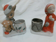 Jasco - 2 Hand Painted Porcelain Christmas Luvkins Candle/Votive Holders