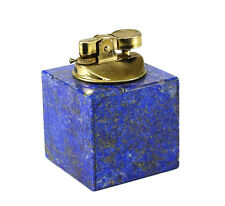 Continental Lapis Lazuli & Gold Plated Metal Table Lighter, 20th Century