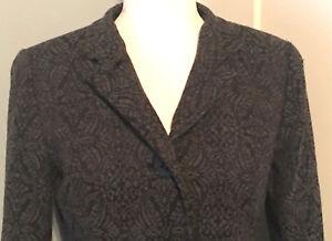 Coldwater Creek Size 8P Button Up Jacket Blazer Womens Floral Damask Wool Blend