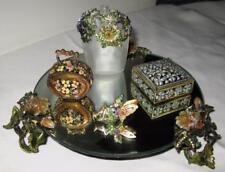 VINTAGE Vanity Tray Mirrored BRASS RIM Flower Leaf Trinket Purse Angel w Gems