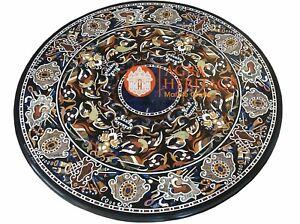 "50"" Pietra Dura Marble Restaurant Dining Table Top Hard Stone Inlay Decor E1581"