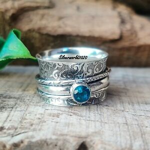 Blue Topaz Spinner Ring 925 Sterling Silver Plated Handmade Ring Size 10 hh176