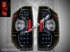 2014-2015 Toyota Tundra SR5 Pickup Truck LED Tail lights Black / Clear