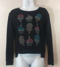 Juicy Couture Large Black Sweatshirt Rhinestone Cupcakes Ice Cream Cones Juniors