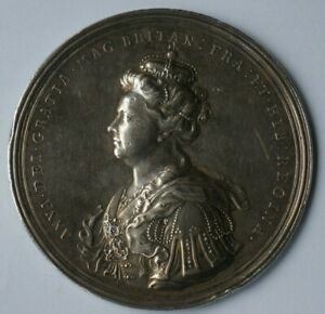 Queen Anne, Union of England & Scotland 1703, silver medal by J. Croker, 69mm.