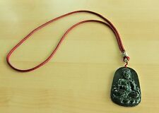 Certified Grade A Dark Green Ink Jadeite Kwan-Yin Pendant