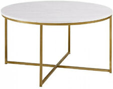 Coffee Table 36 in. Marble/Gold Durable Sturdy Construction X-Shaped Base
