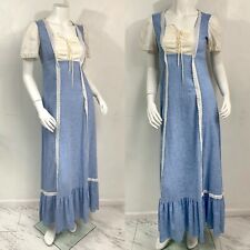 S-Vintage 70's Blue Prairie Dress Cotton eyelet Festival Boho