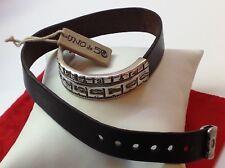 "NWT Uno de 50 Silvertone/Leather Wrap Bracelet 16""  ""Find a Way"""