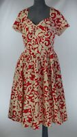 Ex Emily London Red Cream Sweetheart Bow Retro 50s Swing Fit & Flare Dress UK 20