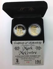 Mark McGwire 2 Coin Matched Number Set .999 Fine Silver with 24K Overlay