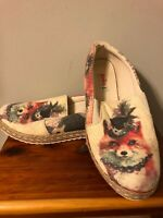 Goby Canvas Flats Shoes Woman's 37 Size 7 Fox Print Same Day Ship