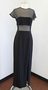 Vtg 90s En Francais Black Mesh Cutout Rhinestone Party Evening Dress Size 8