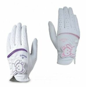 Women Ladies Golf Glove Pair Callaway Bear Cartoon Logo White Pink Purple