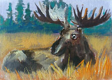 ACEO Moose Autumn Original Oil painting Art 2.5x3.5in by MK