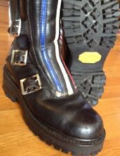 Vtg Black Motorcycle Buckle Boots Red White Blue Stripes Vibram Boys 4 Womens 6