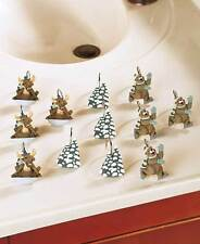 Winter Fun Wildlife Bear ~ Moose ~ Trees Humorous Shower Curtain Hooks ~ Nip
