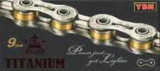 New YBN SLA 209 Titanium 9 Speed Bike Chain 227g for SHIMANO CAMPAGNOLO Gold