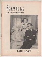 """Late Love""  Playbill  1953   Broadway   Arlene Francis,  Lucile Watson"