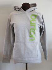 BURTON Snowboard Long Sleeve Gray Pullover Hooded Sweatshirt Green Logo Medium