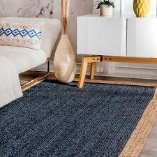 Handmade Braided BlueJute Area Rug Kilim Yoga Mat Decor Dhurrie Floor Decor Rugs