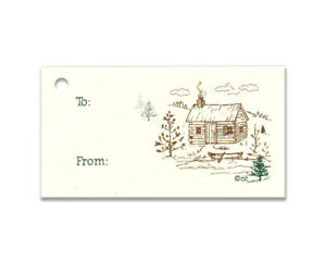 50 ~CABIN & CANOE ~ HANG TAGS RUSTIC WOODS PINES PRICE TO FROM GIFT TAG NATURE