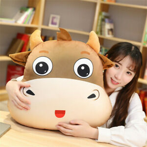 Cartoon bull head pillow plush toy pillow nap pillow car waist cushion