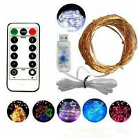 50/100/200LED USB Remote 8 Modes Waterproof Copper Wire String Xmas Fairy Light
