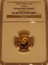 China 1986P Gold 1/10 oz Panda 10 Yuan NGC PF-68UC
