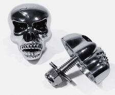 Totenkopf Schrauben XL Kennzeichen Metall Chrom schwarz für Harley Sportster