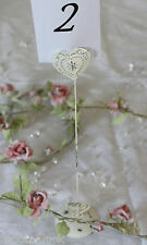 Heart WEDDING Table Number Name Place Card Holder Tall Cream Vintage Style Chic