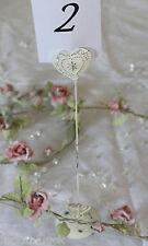 Heart Wedding / Partito Tabella Numero nome segnaposto Tall crema stile vintage