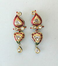 VINTAGE ANTIQUE 20K GOLD DIAMOND POLKI KUNDAN ENAMEL WORK EARRING PAIR INDIA