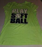 Justice Girls Size 18 Green PLAY SOFTBALL T-Shirt Athletic Shirt