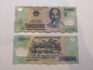 1,000,000 Vietnamese Dong (2x 500,000 genuine, polymer, circulated bank notes)
