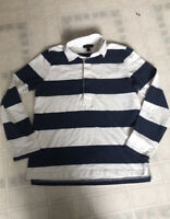 J. Crew  Women's Rubber Buttons Navy White Striped Rugby Shirt sz Small