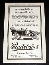 1908 OLD MAGAZINE PRINT AD, STUDEBAKER TOURING CAR, A DEPENDABLE CAR AND MAKER!