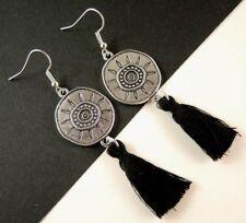 1 Pair of Round Antique Silver Colour Black Cotton Tassel Fashion Earrings #1055