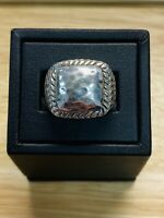 Men's Genuine .925 Sterling Silver Hand Hammered Ring Size 7, Free Shipping