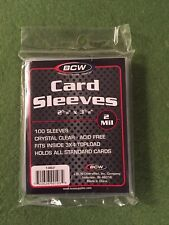 "100 BCW Card Sleeves for Sports Cards- Soft, 2 Mil, 2 5/8"" x 3 5/8""- 1 New Pack!"