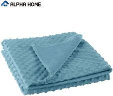 """Removable Duvet Cover for Weighted Blanket Crystal Velvet Design 60""""x80"""" Blue"""