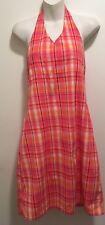 Old Navy Retro Pinup Orange Plaid Smocked Back Cotton Halter Sundress Dress 16