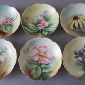 6 Antique LIMOGES Porcelain HP Butter Pats VIOLETS Rose DAISY Sweet Peas POUYAT