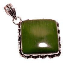 Plata De Ley 925 Capa NLG-95 Verde Ojo De Gato Ancho 3.2cm Mujer Collar