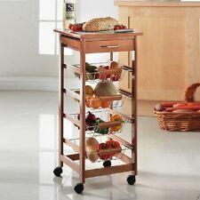 4 tier Kitchen Trolley Cart with strorage drawer and tile top with baskets