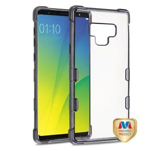 For Samsung Galaxy Note 9 - Gun Metal Chrome Plating Bumper Silicone Case Cover