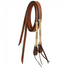 Tough 1 Premium Cowhide Split Reins w/Rawhide Braided Accents horse tack 45-665