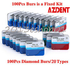 AZDENT 100pcs Dental Diamond Burs for High Speed Handpiece Medium FG 1.6mm