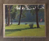 """Rick's Lawn Keuka Lake"" Original Oil Painting Finger Lakes by Ron Johnson"