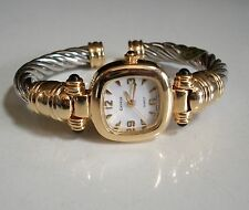 Designer style cable silver and gold finish bangle cuff fashion women's watch